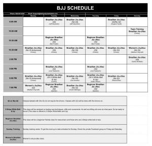 BJJ Schedule